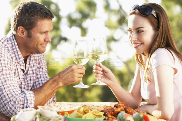 Couple manger repas alimentaire vin Photo stock © monkey_business