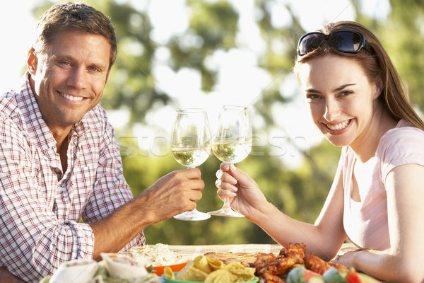 Couple manger repas femme alimentaire Photo stock © monkey_business