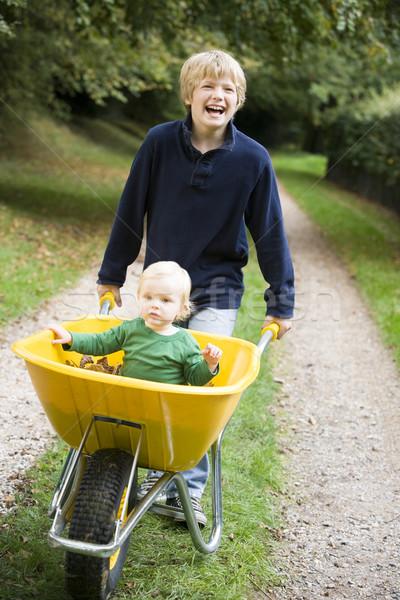 Boy pushing toddler in wheelbarrow Stock photo © monkey_business