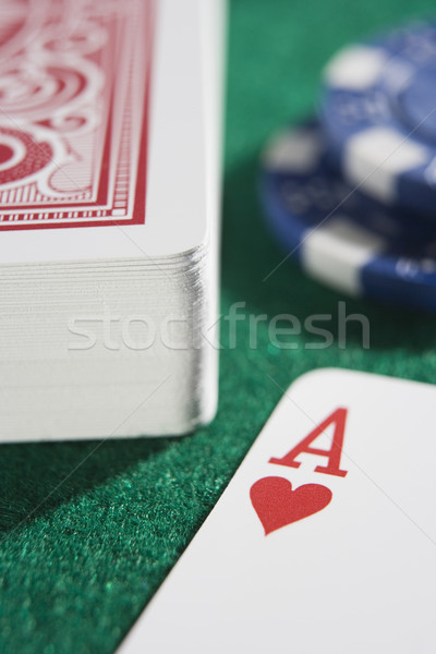 Deck of cards and chips with ace of hearts Stock photo © monkey_business
