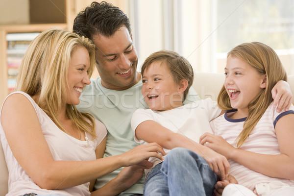 Familia sesión salón sonriendo ninos amor Foto stock © monkey_business