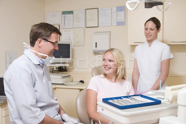 Foto stock: Dentista · assistente · exame · quarto · mulher · cadeira