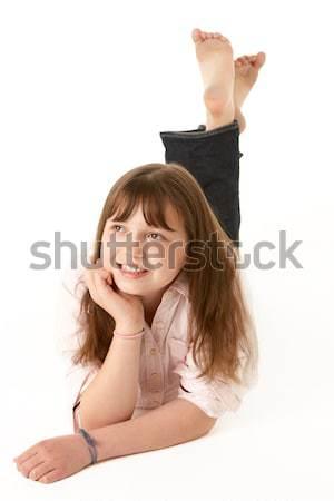 Stock foto: Junge · Mädchen · Magen · Studio · Mädchen · Kinder · glücklich