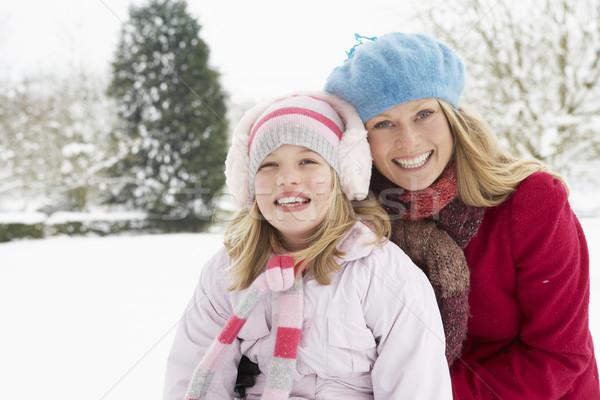商業照片: 母親 · 女兒 · 常設 · 外 · 景觀 · 雪