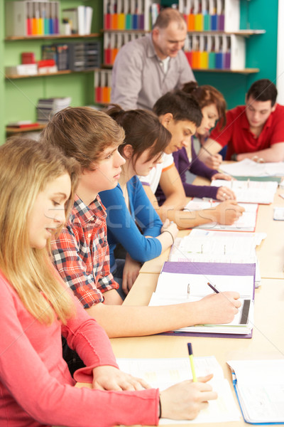 Teenage Students Studying In Classroom With Tutor Stock photo © monkey_business