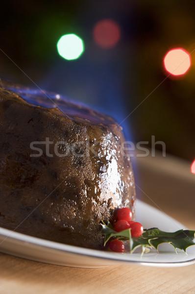 Stok fotoğraf: Noel · puding · brendi · gıda · plaka · pişirme