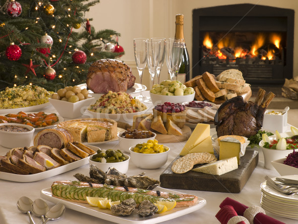 Boxing Day Buffet Lunch Christmas Tree and Log Fire Stock photo © monkey_business