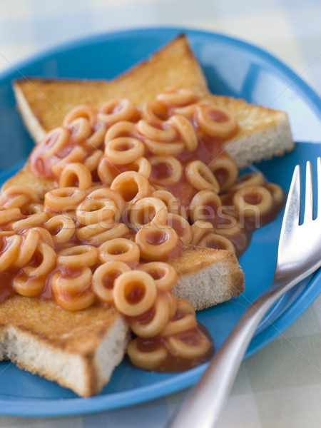 Spaghetti Hoops on Star Shaped Toast Stock photo © monkey_business