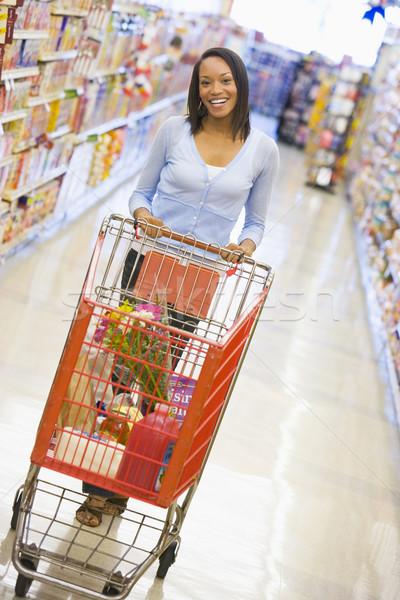 Foto stock: Mulher · jovem · mercearia · compras · mulher · supermercado · comida