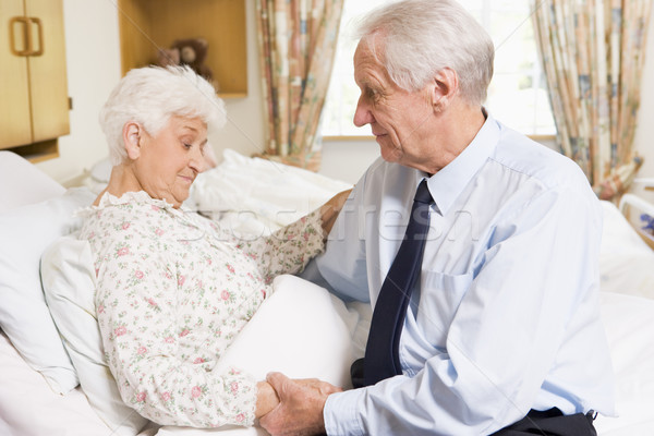Stock photo: Senior Man Visiting His Wife In Hospital