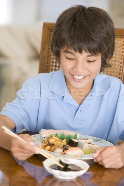 ダイニングルーム 食べ 中国食品 笑みを浮かべて 食品 ストックフォト © monkey_business