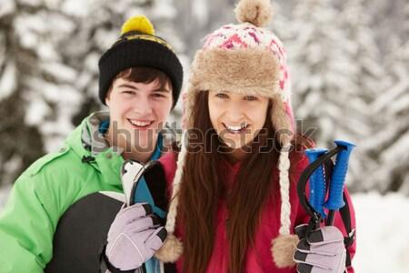Children Pulling Sledge Through Winter Landscape Stock photo © monkey_business