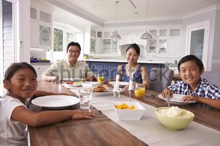 Stockfoto: Groep · jonge · vrienden · ontbijt · moderne · keuken