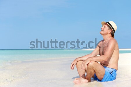 Senior man vakantie vergadering zandstrand denken Stockfoto © monkey_business