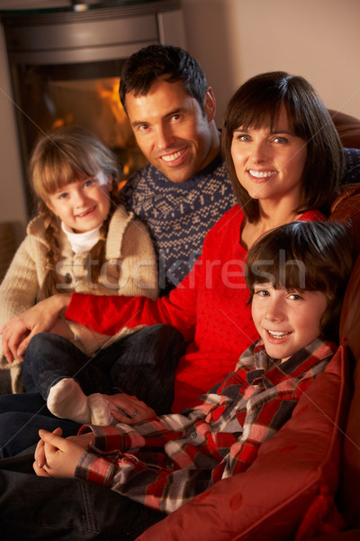 Portrait Of Family Relaxing On Sofa By Cosy Log Fire Stock photo © monkey_business
