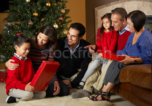 Multi Generation Family Opening Christmas Presents In Front Of T Stock photo © monkey_business