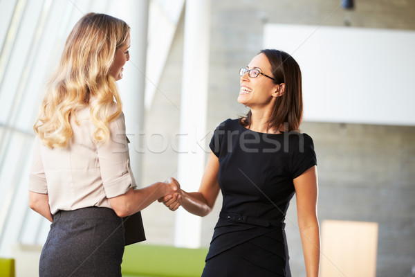 Foto stock: Dos · empresarias · apretón · de · manos · moderna · oficina · negocios