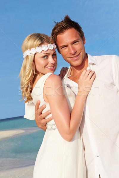 ストックフォト: カップル · 美しい · ビーチ · 結婚式 · 女性 · 愛