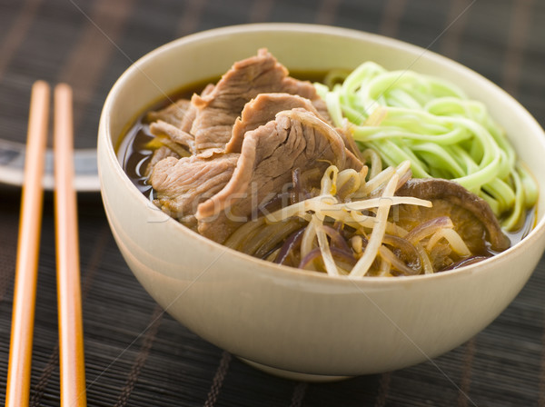Hot and Sour Beef Broth With Spinach Ramen Noodles Stock photo © monkey_business