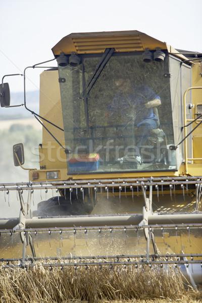 Stock photo: Combine Harvester Working In Field