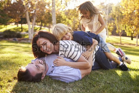 Woman and young girl outdoors blowing bubbles smiling Stock photo © monkey_business