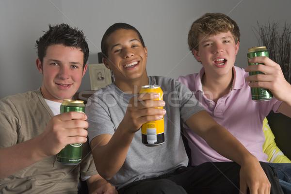 Ragazzi adolescenti bere birra casa teen lounge Foto d'archivio © monkey_business