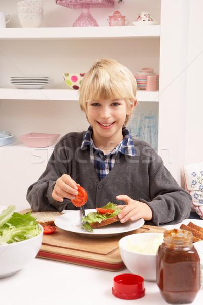 Fiú készít szendvics konyha gyerekek személy Stock fotó © monkey_business