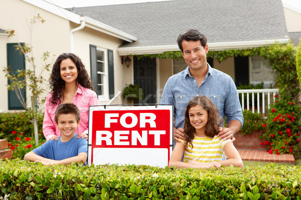 Hispanic family outside home for rent Stock photo © monkey_business