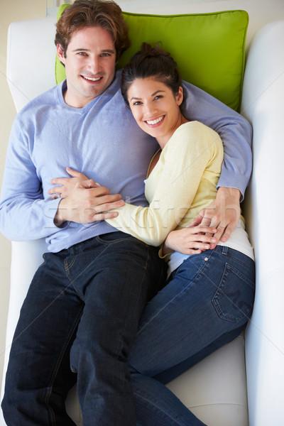 Foto stock: Ver · casal · relaxante · sofá · mulher · amor
