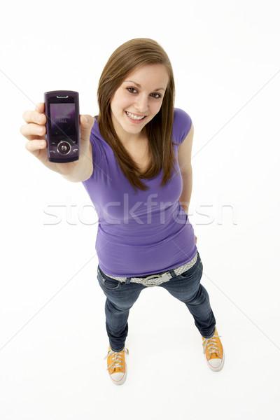 Foto stock: Telefone · móvel · menina · tecnologia · móvel · comunicação