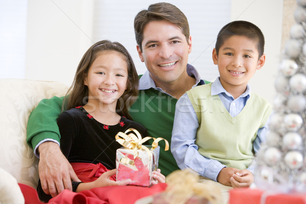 Father And His Son And Daughter Sitting On Sofa,Holding A Christ Stock photo © monkey_business