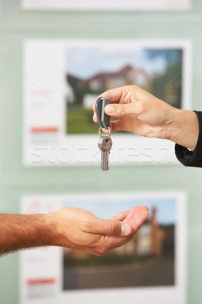 Сток-фото: ключами · новый · дом · клиент · стороны