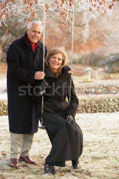 Idős pár ül kert hinta fagyos tájkép Stock fotó © monkey_business