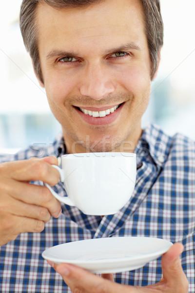 человека расслабляющая Кубок чай пить портрет Сток-фото © monkey_business