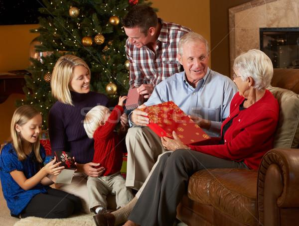 Többgenerációs család nyitás karácsony ajándékok fa család Stock fotó © monkey_business