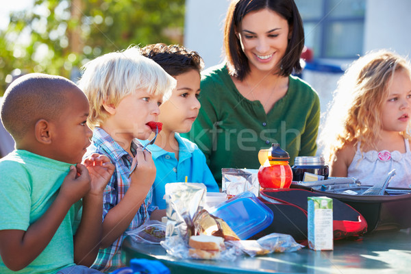 Elementary Pupils And Teacher Eating Lunch Stock photo © monkey_business