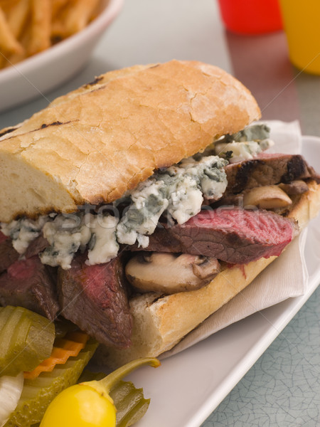Steak and Roquefort Sandwich with Fries Gherkins and Chillies Stock photo © monkey_business