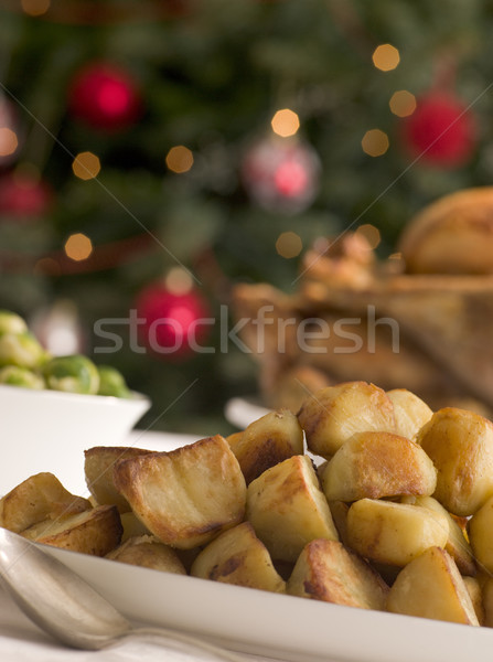 Dish of Roast Potatoes Roast Turkey and Brussel Sprouts Stock photo © monkey_business