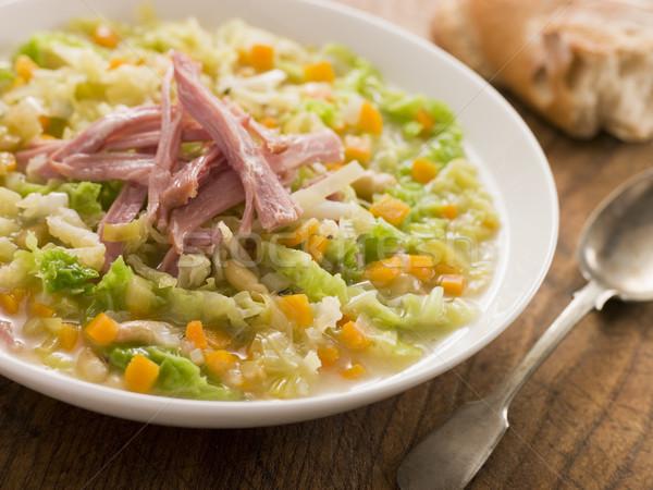 Foto stock: Repolho · bacon · sopa · rústico · pão