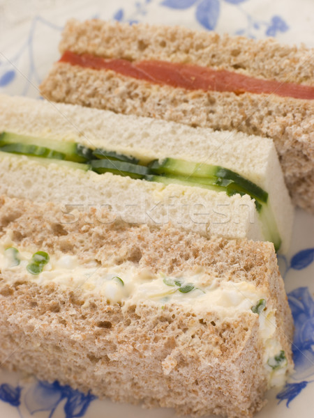 Afternoon tea vinger sandwiches ei gerookte zalm voedsel Stockfoto © monkey_business