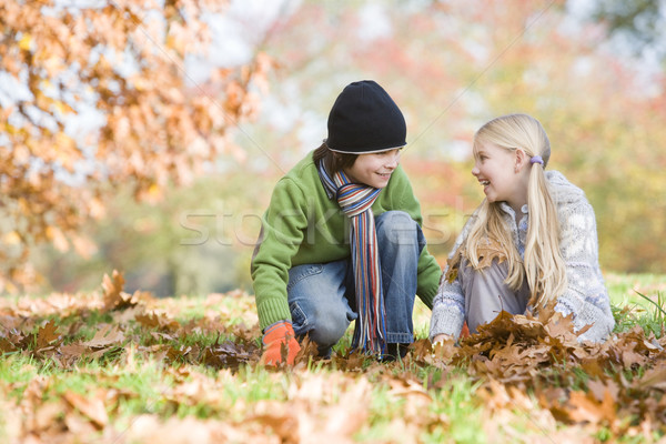 Two children collecting leaves Stock photo © monkey_business