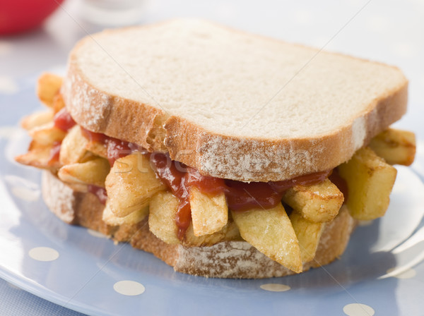 Chip Sandwich on White Bread with Tomato Ketchup Stock photo © monkey_business