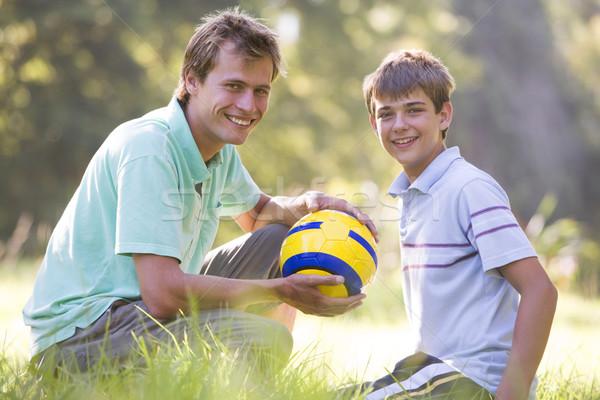 Foto d'archivio: Uomo · esterna · soccer · ball · sorridere · amore
