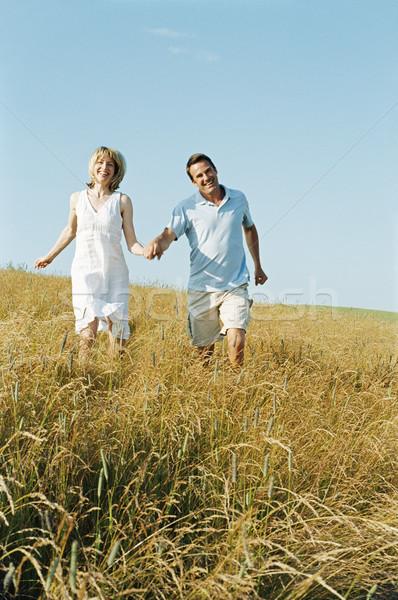 Stockfoto: Paar · lopen · buitenshuis · holding · handen · glimlachend · vrouw