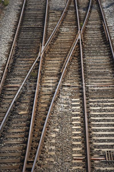 Eisenbahn Länge Kreuzung Textur Metall Transport Stock foto © monkey_business