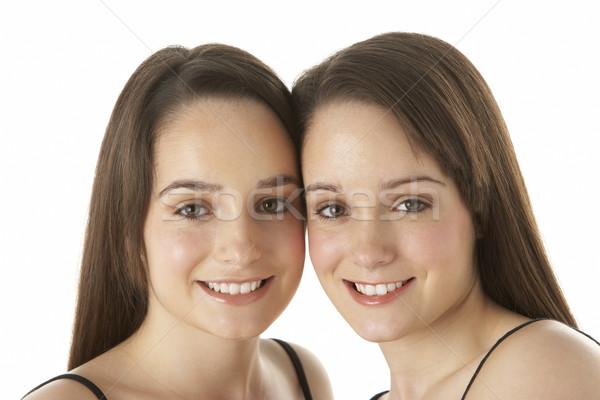 Сток-фото: студию · портрет · близнецы · женщину · девушки