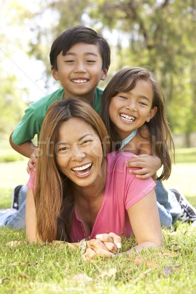 Zdjęcia stock: Matka · dzieci · dzień · parku · rodziny