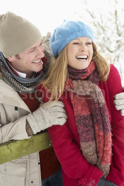 Сток-фото: пару · Постоянный · за · пределами · пейзаж · человека · снега