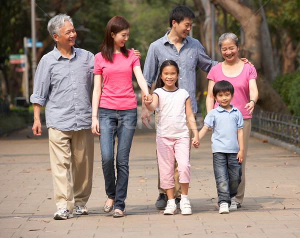 Photo stock: Portrait · chinois · famille · marche · parc · ensemble