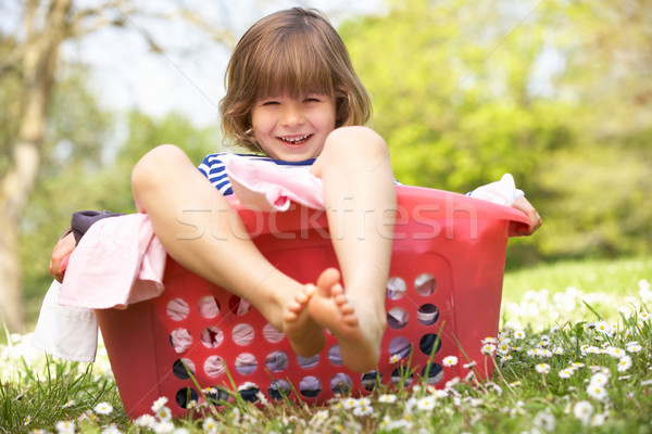 Vergadering wasmand natuur kind zomer Stockfoto © monkey_business